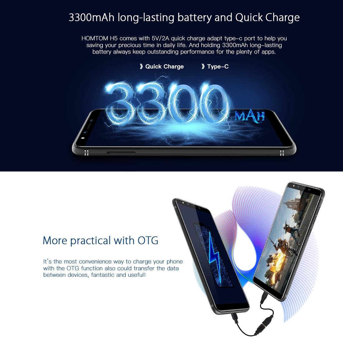 Homtom H5 Dual 4G 3GB+32GB 5 7 inch 360 OS 4G Smartphone - Gold